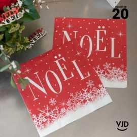 20 Serviettes papier rouge Noël enneigé 16,5 X 16,5 cm.