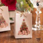 Sac carton rouge Noël traditionnel