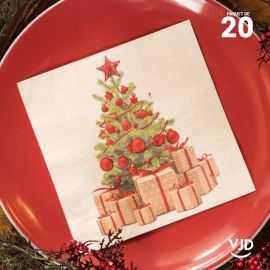 20 Serviettes papier Noël traditionnel 16,5 X 16,5 cm.