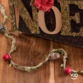 Guirlande naturelle florale rouge 110 cm