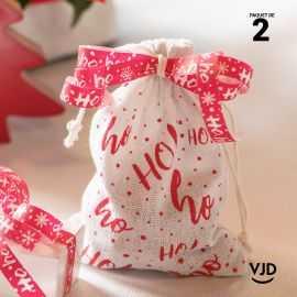 2 pochettes rouge et blanc à lacet coton ho,ho,ho !
