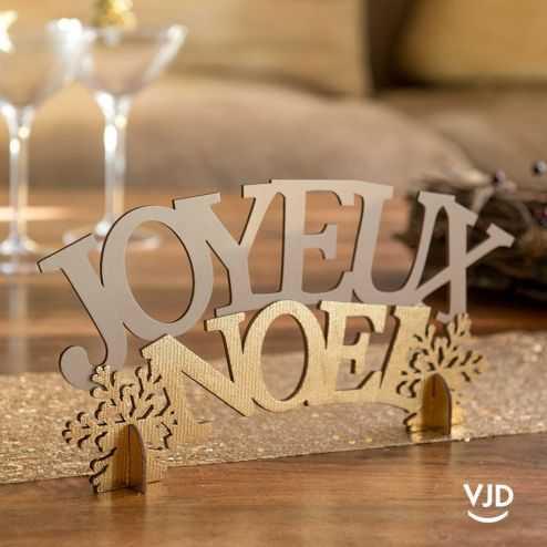 Lettres Joyeux Noël blanc et or 30 cm