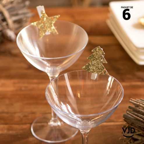 6 pinces en bois guirlande de Noël or
