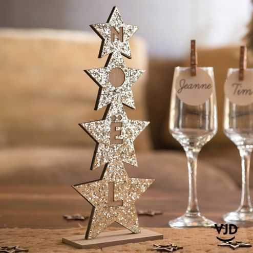 Décoration Sapin Noël paillettes sur socle 27 cm. En bois