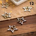 12 confettis bois et or double-étoiles pailletés.