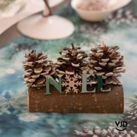 Centre de table Noël givré sur bûche 11x4x 11 cm, turquoise