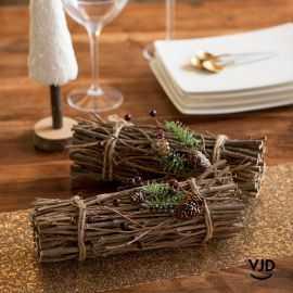Décoration fagot de bois couleur chocolat 30 x 9 cm
