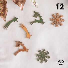 12 confettis assortiment Noël enchanté kaki