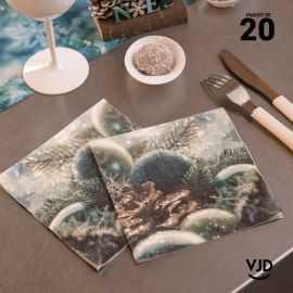 20 Serviettes papier Noël givré 16,5 X 16,5 cm