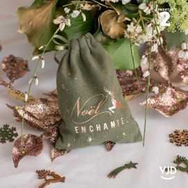 2 pochettes en coton Noël enchanté couleur kaki à lacet