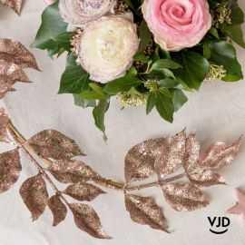 Décoration Branche pailletée rose gold 80 cm
