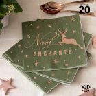 20 Serviettes papier Noël enchanté 16,5 X 16,5 cm.