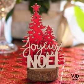 Décoration joyeux Noël sur socle 14 cm. En bois