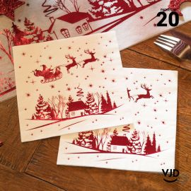 20 Serviettes papier Cerfs enchantés 16,5 X 16,5 cm.