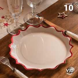 10 assiettes carton festonnée blanche et rouge 17,5 cm