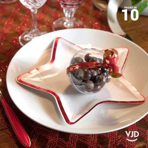 10 petites assiettes carton étoile rouge