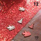 12 confettis blanc et rouge Cerf enchanté.