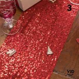 Chemin de table sequins rouge, 3 mètres