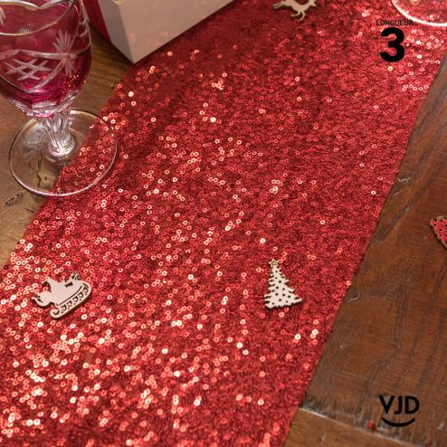 Chemin de table sequins rouge, 3 mètres