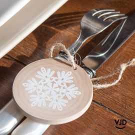Marque-place flocon avec cordelette.