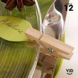 12 mini-pinces en bois 3,5 cm