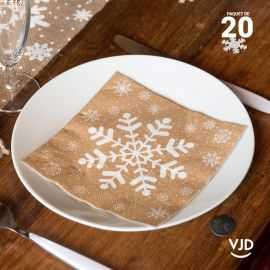 20 Serviettes papier Flocons nature 16,5 X 16,5 cm.