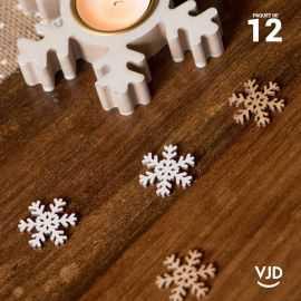 12 confettis bois et blanc flocons.