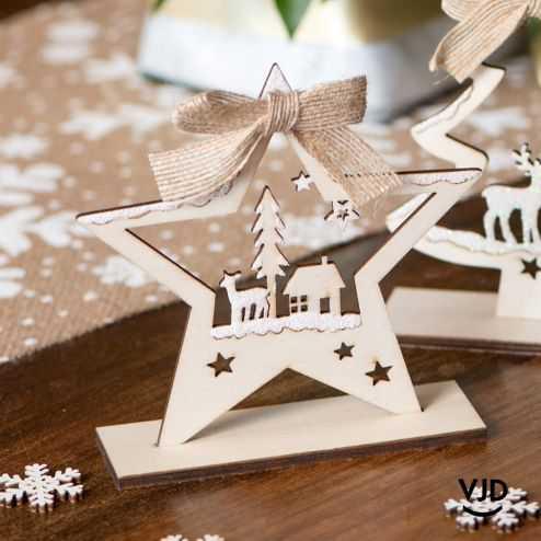 Décoration étoile de Noël 12,5 cm. En bois