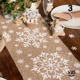 Chemin de table jute motif Flocon. 3 mètres