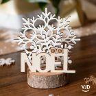 Décoration Flocon Noël 12 cm. En bois