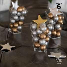 6 étoiles métal argentés décoratives