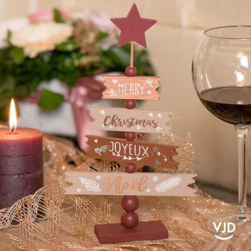 Décoration Sapin Joyeux Noël 25 cm. En bois
