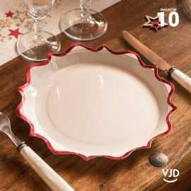 10 assiettes carton festonnée blanche et rouge 22,5 cm