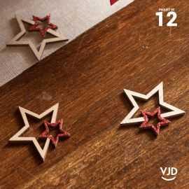 12 confettis bois et rouge double-étoiles pailletés.