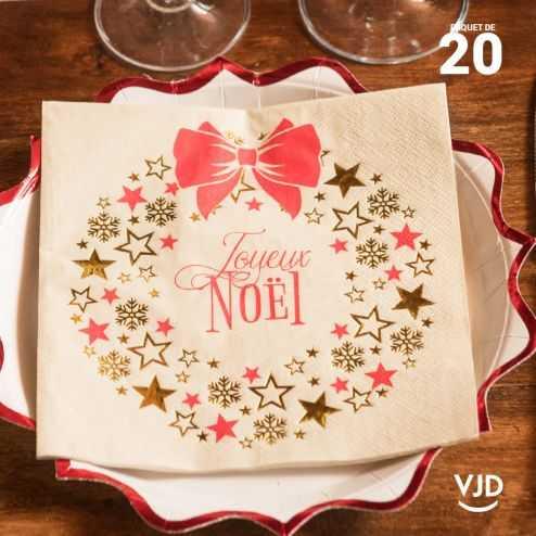 20 Serviettes papier Couronne de Noël 16,5 X 16,5 cm.
