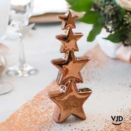 Décoration verticale 4 étoiles cuivre 20 cm