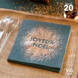 20 Serviettes papier Joyeux Noël paillettes or noir 12.5 x 12.5 cm