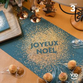 Chemin de table Joyeux Noël paillettes bleu-canard en coton 3 mètres
