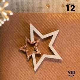 12 confettis bois et rose gold double-étoiles pailletés.