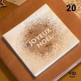 20 Serviettes papier Joyeux Noël paillettes or 12.5 x 12.5 cm