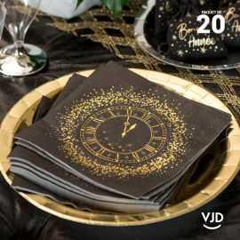 20 Serviettes papier noir Réveillon 16,5 X 16,5 cm