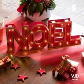 Lettres Noël lumineuses rouge et or 33,5 cm