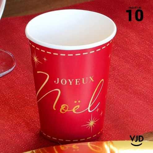 10 Gobelets carton déco Joyeux Noël 20 cl