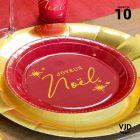 10 assiettes rondes rouge et or Joyeux Noël 22,5 cm