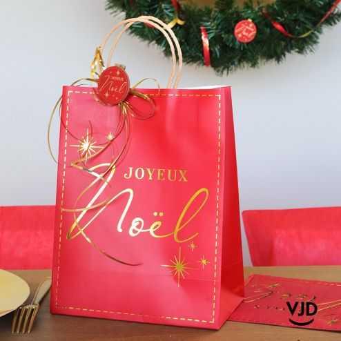 Sac papier rouge Joyeux Noël