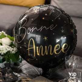 Ballon alu 45 cm Bonne année noir