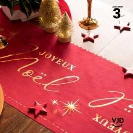 Chemin de table Joyeux Noël, rouge étoilé coton 3 mètres