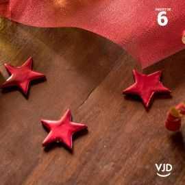 6 étoiles métal rouge décoratives