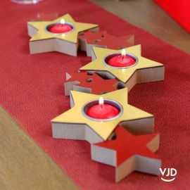 Porte bougies bois en ruban d'étoiles or-rouge