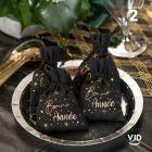 2 pochettes noir à lacet coton Bonne Année !